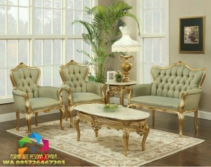 kursi sofa sandaran tinggi finishing gold