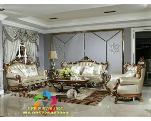 kursi tamu sofa ukiran finishing natural